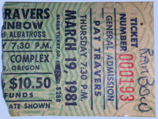 PAT TRAVERS ORIGINAL CONCERT TICKET NEWCASTLE CITY HALL UK 30TH MARCH 1980